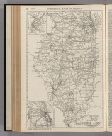 Commercial Atlas of America. Rand McNally Black and White Mileage Map, Illinois. (with) St. Louis. (with) Chicago.