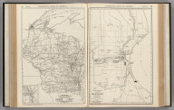 Commercial Atlas of America. Rand McNally Black and White Mileage Map, Wisconsin. (with) Milwaukee. Rand McNally 14 x 21 Inch Map of Milwaukee and Vicinity.