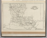 Commercial Atlas of America. Rand McNally Black and White Mileage Map, Louisiana.