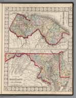County Map of Maryland and Delaware. County Map of New Jersey.
