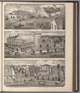 View: Residences of Geo. B. Martin, C.H. Bacon, A.J. Mathewson, H.W. Emery. Businesses of Gaylord & Co., A.C.Stiles.