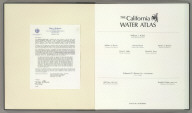 (Letter Insert and Title Page to) The California Water Atlas. William L. Kahrl, Project Director and Editor, William A. Bowen, Cartography Team Leader, Stewart Brand, Advisory Group Chairman, Marlyn L. Shelton, Research Team Director, David L. Fuller, Principal Cartographer, Donald A. Ryan, Principal Cartographer, Edmond G. Brown, Jr., Governor, State of California, Bill Press, Director, Office of Planning and Research, Ronald B. Robie, Director, Department of Water Resources. State of California.