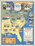Civil War, Visual History Wall Map, Prepared by Civic Education Service ... Washington D.C.