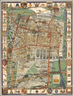 Pictorial map of the city of Mexico and surroundings yesterday and today.