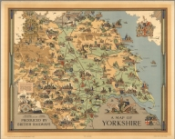 A map of Yorkshire produced by British Railways. Estra Clark, 1949