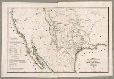 Map Of Texas And The Countries Adjacent: Compiled In The Bureau Of The Corps Of Topographical Engineers, Fom The Best Authorities, For the State Department, Under the direction of Colonel J.J. Abert, Chief of the Corps, by W.H. Emory, 1st Lieut. T.E. War Department 1844. W.J. Stone Sc. Washn. Published by order of the U.S. Senate.