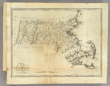 The State of Massachusetts, Compiled from the best Authorities By Samuel Lewis. (above neat line) Engraved for Carey's American Edition of Guthries Geography improved by J.T. Scott.