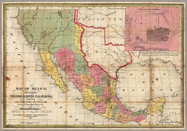 Map Of Mexico, Including Yucatan & Upper California. / Mitchell, Samuel Augustus / 1847