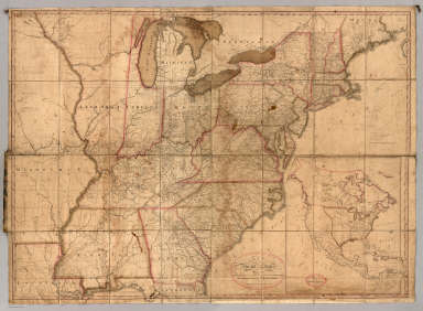 Map of the United States, Exhibiting the Post-Roads, the situations, connexions and distances of the Post-Offices, Stage Roads, Counties & Principal Rivers By Abraham Bradley Junr. Entered ... 2nd day of June1804, by Abraham Bradley Junr. of the District of Columbia. (inset) Map Of North America.