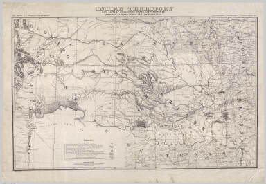 Indian Territory With Parts Of Neighboring States And Territories. Prepared By Order Of Maj. Gen. J.M. Schofield. Compiled under direction of 1st Lieut. Henry Jackson, 7th U.S. Cavalry, September 1869. Bvt. Maj. Gen. A.A. Humphreys, Chief of Engineers. Drawn by Ado Hunnius. J. Bien, photo-lith.