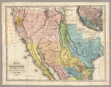 Map of California New Mexico Texas &c. / Tanner, Henry S. / 1849 California S Map on