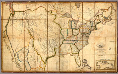 Map of the United States with the contiguous British & Spanish Possessions Compiled from the latest & best Authorities By John Melish. Engraved by J. Vallance & H.S. Tanner. Entered ... 6th day of June 1816. Published by John Melish Philadelphia. (inset) West Indies.