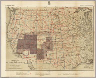 1876. Progress Map Of The U.S. Geographical Surveys West Of The 100th Meridian. / Wheeler, G.M. / 1876