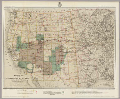 1878. Progress Map Of The U.S. Geographical Surveys West Of The 100th Meridian. / Wheeler, G.M. / 1878