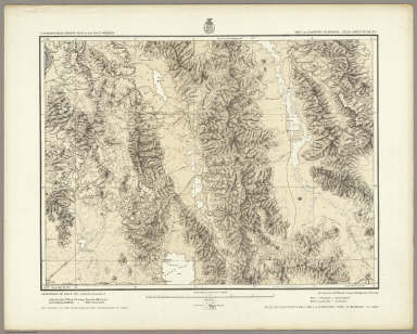 Part Of Eastern California, Atlas Sheet No. 65 (D.). Issued May 7th 1877. The Graphic Co. Photo-Lith. 39 & 41 Park Place, N.Y. Weyss, Nell & Lang, Del. Expeditions of 1871 & 75. Under the Command of 1st. Lieut. Geo. M. Wheeler, Corps of Engineers, U.S. Army. Executive Officers and Field Astronomers: 2nd Lt. D.A. Lyle 2nd Art'y U.S. Army and 1st Lt. R. Birnie Jr. 13th Inf'y U.S. Army. Topographical Assistants: 1871, P.W. Hamel and 1871-75, Louis Nell. U.S. Geographical Surveys West Of The 100th Meridian.