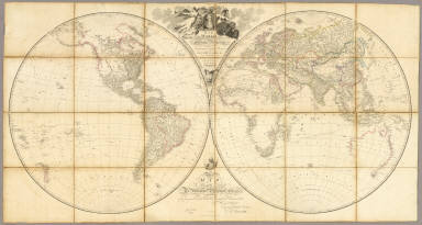 Map of the World on a Globular Projection, Exhibiting Particularly the Nautical Researches of Capn. James Cook, F.R.S. with all the Recent Discoveries to the Present Time, carefully drawn by A. Arrowsmith, Hydrographer to H.R.H. the Prince of Wales. The Plan Work Engraved by T. Foot. The Writing by Wigzell & Mozeen. This Map Is Respectfully Dedicated To Alexander Dalrymple Esqr. F.R.S. In Testimony of his many New and Valuable Geographical Communications To His most Obedient and very Humble Servant A. Arrowsmith. January 1st 1794. Additions to 1799. Do. to 1808. London, Published as the Act direct Jany. 1st 1794, by A. Arrowsmith, No. 10 Soho Square. I. Puke Sculpt. E. Dayes del. W. Wilson sculp.