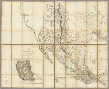 A New Map of Mexico and Adjacent Provinces Compiled from Original Documents by A. Arrowsmith. 1810. London. Published 5th October 1810 by A. Arrowsmith, 10 Soho Sque. Hydrographer to H.R.H. the Prince of Wales. Engraved by E. Jones. (with) three inset maps: Valley of Mexico, from Mr. Humboldt's Map, Veracruz, and Acapulco.