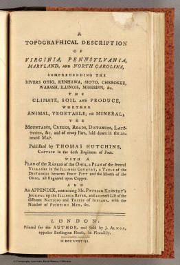 Title Page: Topographical description of Virginia ... / Hutchins, Thomas / 1778