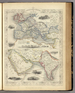 Overland Route To India. / Martin, R.M. ; Tallis, J. & F. / 1851