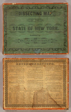 (Box Cover to) Dissecting Map of the State of New York. Published by McCleary & Pierce, Watervliet centre, Albany Co., N.Y. (with) McCleary & Pierce's Geographical Analysis of the State of New York, Albany 1850. Patented Sep. 1849.