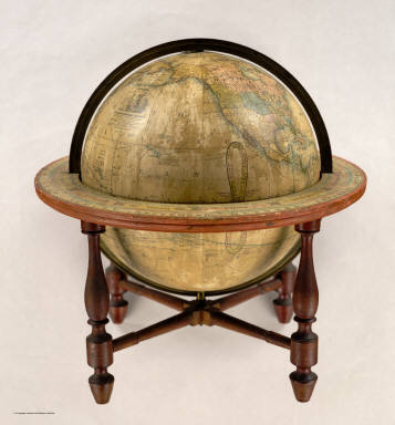 Wilson's New American Thirteen Inch Terrestrial Globe, Exhibiting with the Greatest Possible Accuracy, The Positions of the Principal Known Places of the Earth, with the Tracks of Various Circumnavigators, Together with New Discoveries and Political Alterations Down to the present Period: 1836. By Cyrus Lancaster, Albany St. N.Y. S. Wood & Sons Agents N. York.