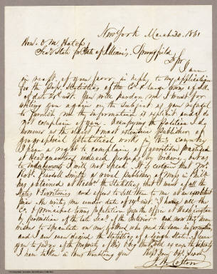 Letter to O.M. Hatch, Secretary of State for State of Illinois from J.H. Colton. / Colton, J.H. / 1861