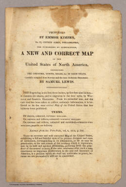 (Page 1 of) Proposals ... For Publishing By Subscription, A New And Correct Map of the United States. / Lewis, Samuel ; Kimber, Emmor / 1815