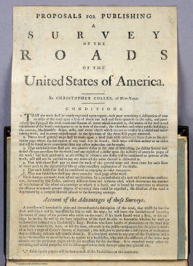 (Text Page to) A Survey of the Roads of the United States of America by Christopher Colles. 1789. C. Tiebout, Sculpt.