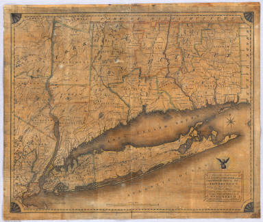 Map of the Southern part of the State of New York including Long Island, the Sound, the State of Connecticut, part of the State of New Jersey and Islands adjacent. Compiled from actual late Surveys. Designed, Drawn and Published 1815 by Wm. Damerum, General Surveyor, New York. Copy Secured. P. Maverick sct.