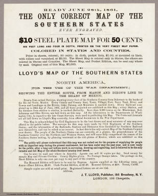 Ready June 28th, 1861,  The Only Correct Map of the Southern States Ever Engraved. / Lloyd, J.T. / 1861