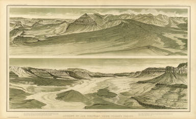 Looking up the Toroweap from Vulcan's Throne. W(illiam) H. H(olmes). Atlas Sheet V. Julius Bien & Co. lith. U.S. Geological Survey, Geology of the Grand Canon District.