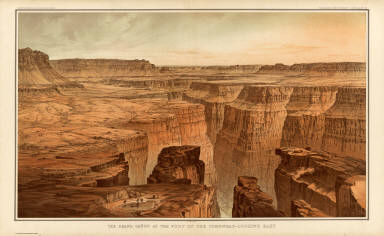 The Grand Canon at the foot of the Toroweap - Looking East. W(illiam) H. H(olmes). Atlas Sheet VI. Julius Bien & Co. lith. U.S. Geological Survey, Geology of the Grand Canon District.