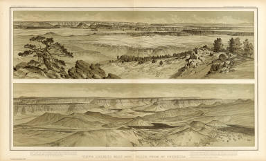 Views looking east and south from Mt. Trumbull. W(illiam) H. H(olmes). Atlas Sheet IX. Julius Bien & Co. lith. U.S. Geological Survey, Geology of the Grand Canon District.