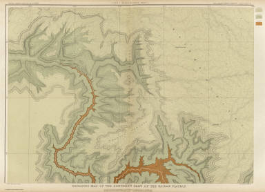 Geologic Map Of The Southern Part Of The Kaibab Plateau. [Part I. North-Western Sheet.] Atlas Sheet XI. Geology by C.E. Dutton. Julius Bien & Co. lith. U.S. Geological Survey, Geology of the Grand Canon District.
