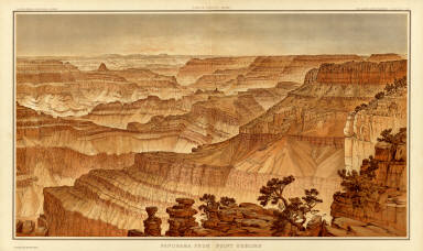 Panorama from Point Sublime. [Part III. Looking West.] W(illiam) H. H(olmes). Atlas Sheets XVII. Julius Bien & Co. lith. U.S. Geological Survey, Geology of the Grand Canon District.