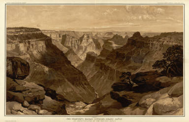 The Transept, Kaibab Division, Grand Canon. An amphitheater of the Second Order. (By Thomas Moran). Atlas Sheet XVIII. Julius Bien & Co. lith. U.S. Geological Survey, Geology of the Grand Canon District.