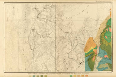 Geologic Map Showing The South-Western Portion Of The Mesozoic Terraces And The Vicinity Of The Hurricane Fault. Atlas Sheet XX. Geology by C.E. Dutton. Julius Bien & Co. lith. U.S. Geological Survey, Geology of the Grand Canon District.