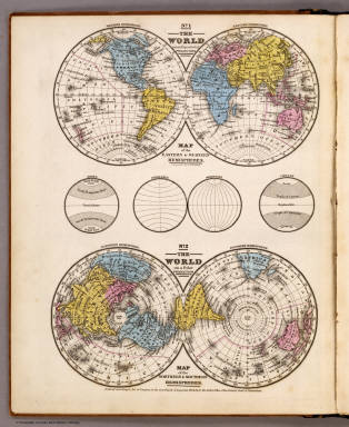 World ... Equatorial Projection and Polar Projection. / Mitchell, Samuel Augustus / 1839