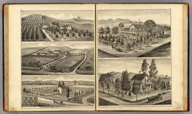 Residences of J.W. Cassidy, Res. of David Stewart and Healdsburg Nursery. / Thompson, Thos. H. / 1877