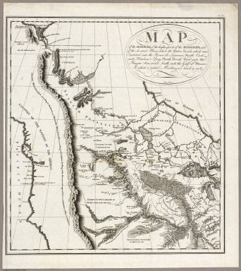 Map of the Missouri, of the higher parts of the Mississippi, and of the elevated Plain, where the Waters divide, which run, Eastward into the River St. Lawrence, North East into Hudson's Bay, North North West into the Frozen Sea, and South into the Gulf of Mexico. To which is added Mackenzie's track in 1789. PL. 29.