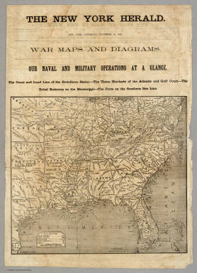 War Maps And Diagrams.  Our Naval And Military Operations At A Glance. / New York Herald ; Hall, E.S. / 1861