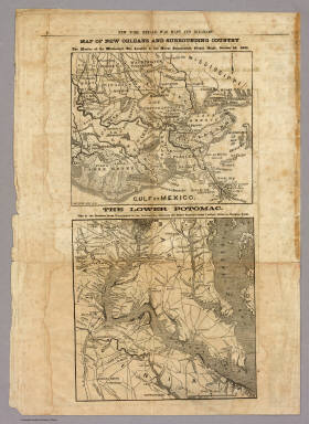 Map of New Orleans and Surrounding Country. / New York Herald ; Hall, E.S. / 1861