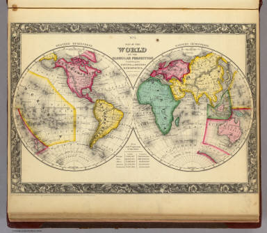 Map Of The World on the Globular Projection. / Mitchell, Samuel Augustus / 1860