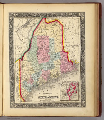 County Map Of The State Of Maine. / Mitchell, Samuel Augustus / 1860