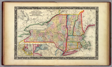 County Map Of The States Of New York, New Hampshire, Vermont. Massachusetts, Rhode Id. And Connecticut. / Mitchell, Samuel Augustus / 1860
