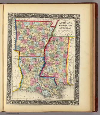 County Map Of Louisiana Mississippi And Arkansas Mitchell