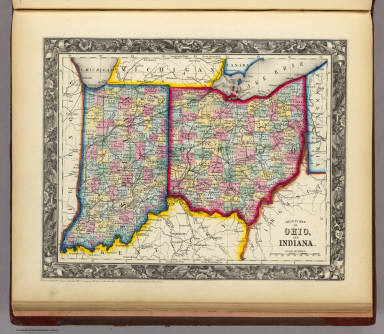 Counties Map Of Ohio.County Map Of Ohio And Indiana Mitchell Samuel Augustus 1860