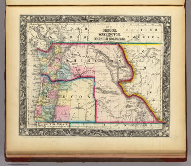 Map Of Oregon, Washington, And Part Of British Columbia. / Mitchell, Samuel Augustus / 1860
