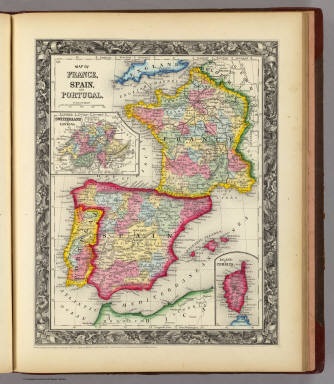 Map Of France, Spain, And Portugal. / Mitchell, Samuel Augustus / 1860