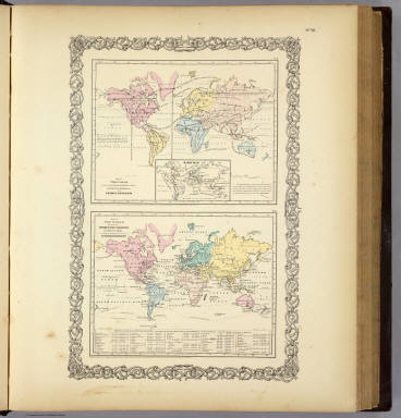 Map of The World Showing ... The Animal Kingdom ... Commerce And Navigation. / Colton, G.W. / 1856